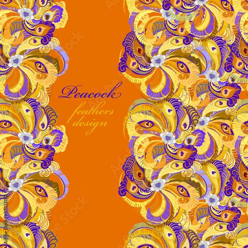 Fototapeta Orange peacock feathers pattern background. Text place. obraz na płótnie