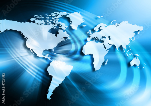 Best Internet Concept. Globe, glowing lines on technological background. Electronics, Wi-Fi, rays, symbols Internet, television, mobile and satellite communications. Technology illustration #97024532
