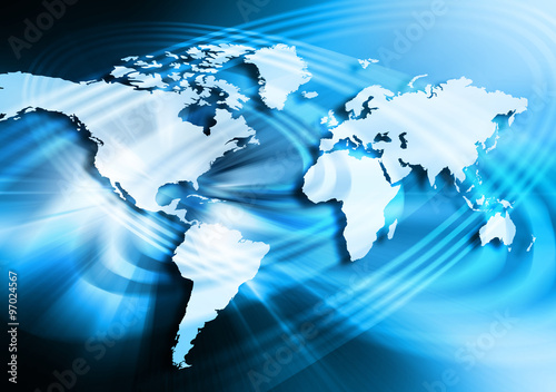 Best Internet Concept. Globe, glowing lines on technological background. Electronics, Wi-Fi, rays, symbols Internet, television, mobile and satellite communications. Technology illustration #97024567
