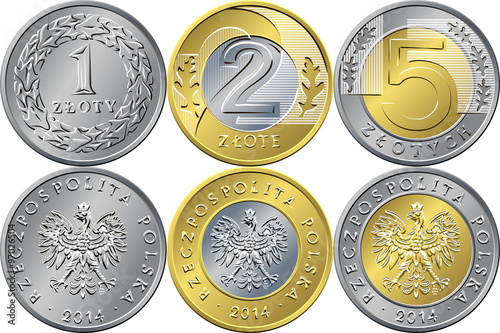 Fotografía  Set Polish Money one, two and five zloty coins