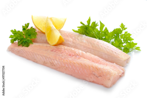 Raw Hake fish fillet pieces. Fototapete
