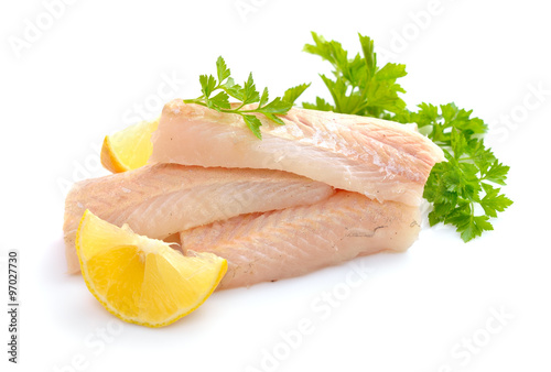 Papiers peints Poisson Raw Hake fish fillet pieces.