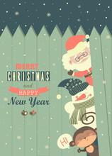 Santa,monkey,snowman Wishing You Merry Christmas