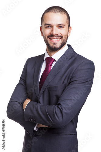 Portrait of a handsome smiling business man, isolated on white b