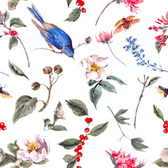 FototapetaSeamless Background with Pink Flowers, Beetles and Birds
