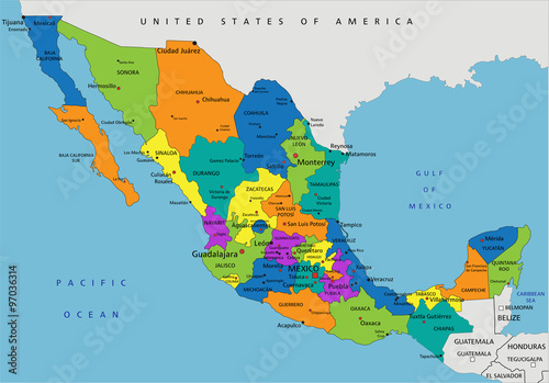 Mexico Political Map Colorful Mexico political map with clearly labeled, separated
