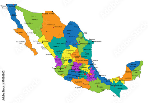 Colorful Mexico Political Map With Clearly Labeled Separated Layers