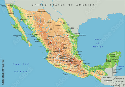 High detailed Mexico physical map with labeling. – kaufen Sie diese ...