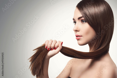 Woman with beautiful long hair Canvas