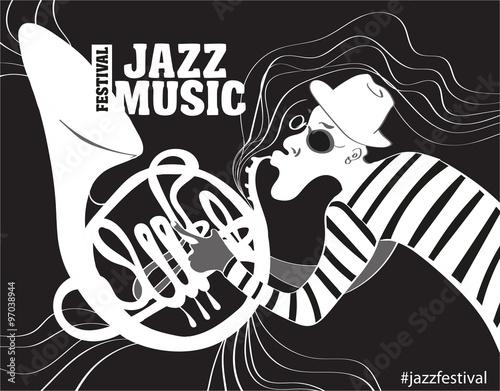 In de dag Muziekband illustration of a Jazz poster