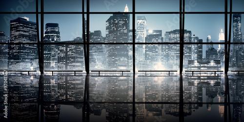 Photo  Modern NYC Interior Architecture Night Scene Concept..