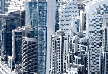 View of Dubai city from the top of a tower