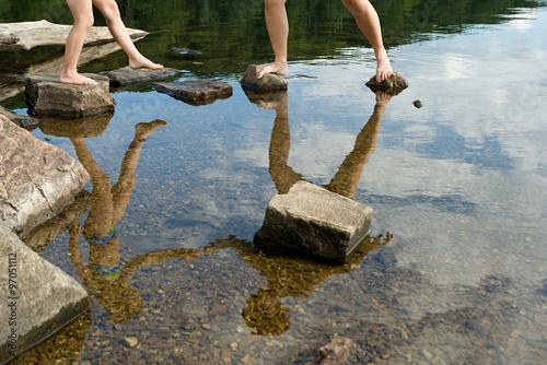 Fotografie, Obraz  Standing on stepping stones