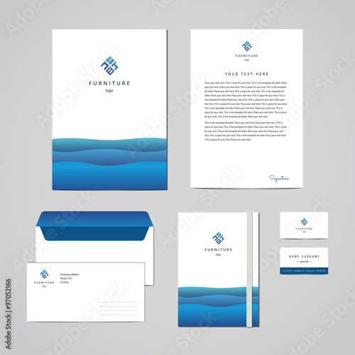 Corporate identity furniture company blue design template corporate identity furniture company blue design template documentation for business folder letterhead flashek Image collections