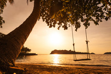 Tropical Sea Beach With Swing Tied At Sunset