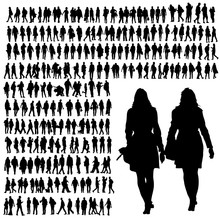 People Walking Silhouette Black Vector