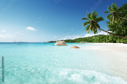 Poster Tropical plage Anse Lazio beach at Praslin island, Seychelles