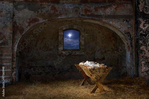 Manger in Old Barn Canvas Print