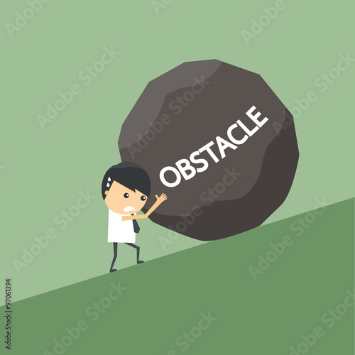 Businessman with obstacle stone. Wallpaper Mural