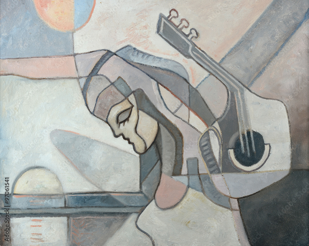 Juliste  Abstract Painting With Woman and Guitar