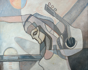 Panel Szklany Abstract Painting With Woman and Guitar