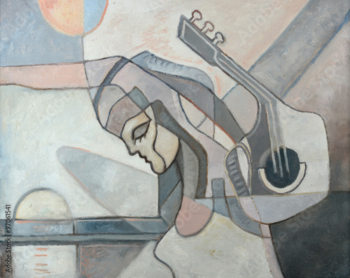 Fotografie, Obraz  Abstract Painting With Woman and Guitar