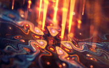 Abstract Fractal With Yellow Light Rays And Colorful Gnarls