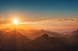 canvas print picture - colorful sunset on top of austrian mountain alps