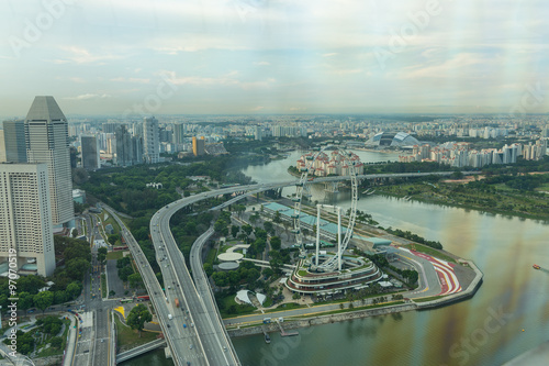 View of Singapore city skyline Poster
