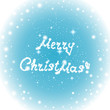 """Happy New Year vector background with sign on a frozen window """"Merry Christmas!"""", Christmas ball and glowing snowflakes"""