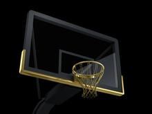 Black And Golden Basketball Backboard