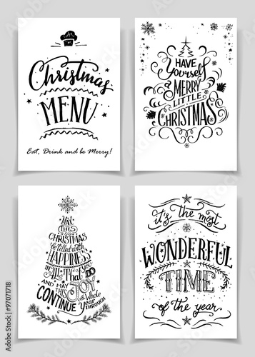 Christmas Greeting Cards Bundle In Black Isolated On White Background A Unique Set Of Hand Lettered Holiday Or Posters For Printing And Design