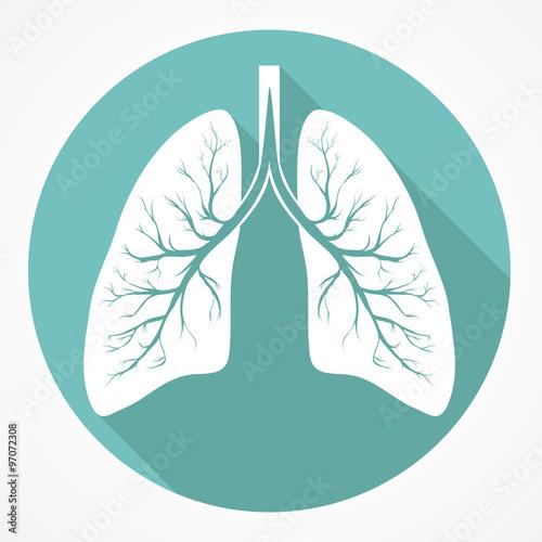Obraz Human Lung flat icon - fototapety do salonu