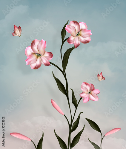 Surreal lily and butterflies - 97075303