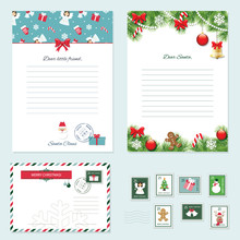 Christmas Templates Set. Letter From Santa Claus, Letter To Santa, Envelope, Postage Stamps.