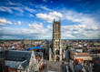 canvas print picture - Saint Bavo Cathedral and Sint-Baafsplein, view from Belfry. Ghen