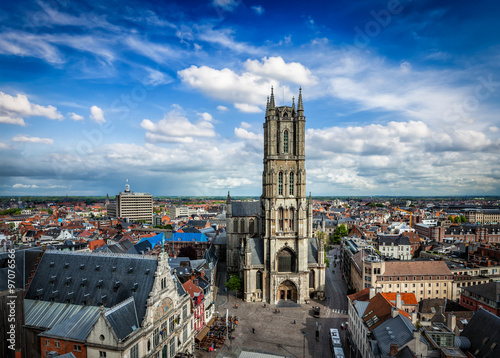Slika na platnu Saint Bavo Cathedral and Sint-Baafsplein, view from Belfry. Ghen