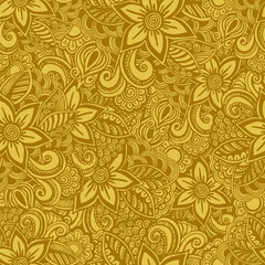 Hand drawn seamless Flower pattern. Doodle style