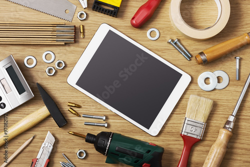 Digital tablet with DIY tools Canvas Print