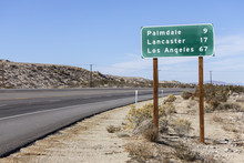 Palmdale, Lancaster And Los Angeles Highway Sign