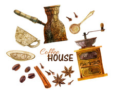 Watercolor Coffee Set