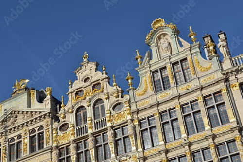 Foto op Canvas Brussel Restored buildings of guild houses on Grand Place in Brussels, Belgium