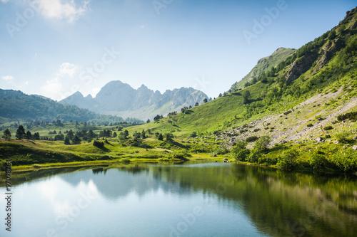 Poster Lac / Etang Mountain lake in summertime