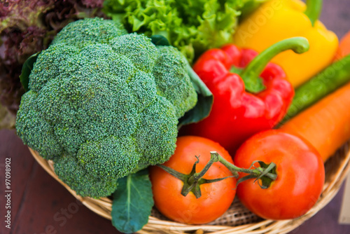 Fototapety, obrazy: Many types of vegetables in a basket