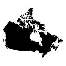 Canada Black Map On White Back...