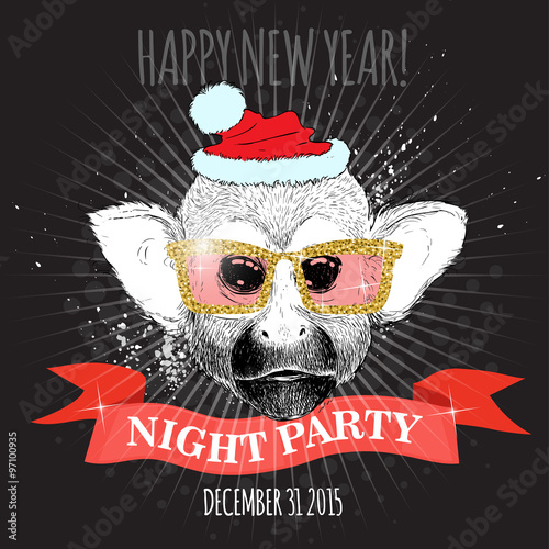 happy new year night party poster squirrel monkey hipster with glitter glasses and christmas hat