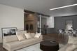 Modern open-plan living room interior