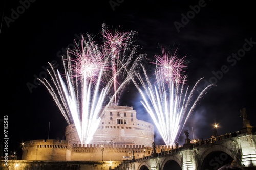 Castel Sant' Angelo, Rome, Italy celebration with fireworks Poster