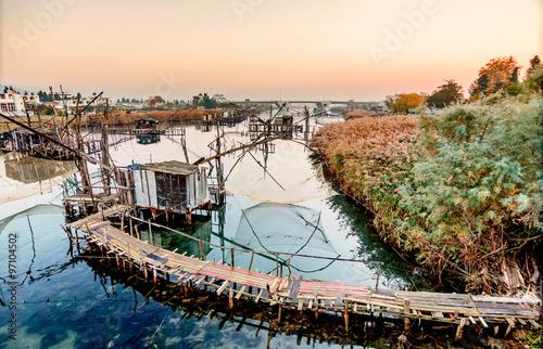 Fotografia, Obraz  Fishing huts on Port Milena near Ulcinj city, Montenegro