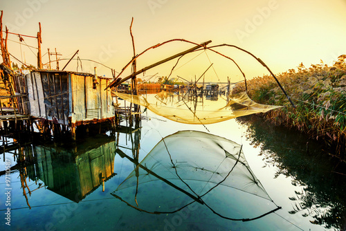 Fotografia, Obraz  Fishing huts on Port Milena near Ulcinj city, Montenegro
